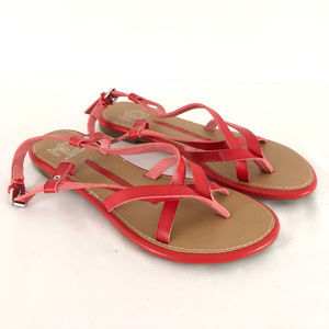New Directions Womens Sandals Strappy Thong Red 8